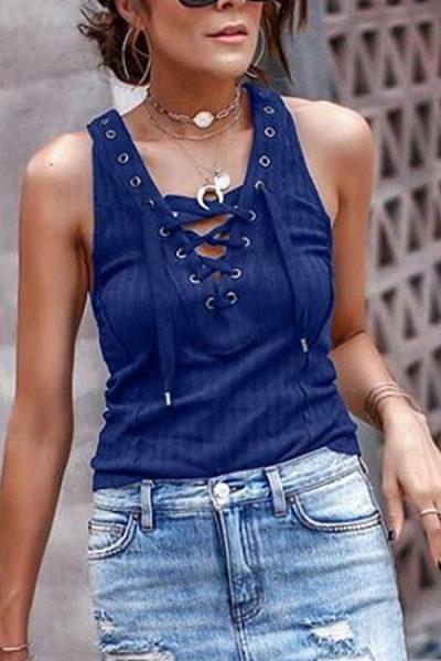 Deep V Neck  Lace Up  Plain Camis