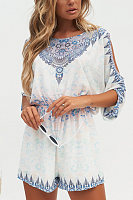 Round Neck  Abstract Print  Half Sleeve  Playsuits