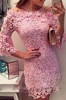 Round Neck  Patchwork  Plain Bodycon Dresses