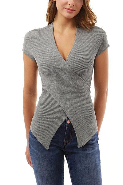 Surplice  Asymmetric Hem  Plain T-Shirts