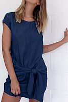 Round Neck  Asymmetric Hem  Plain  Batwing Sleeve  Extra Short Sleeve Casual Dresses