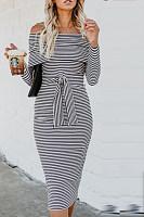 Off Shoulder  Backless  Belt  Plain  Long Sleeve Bodycon Dresses