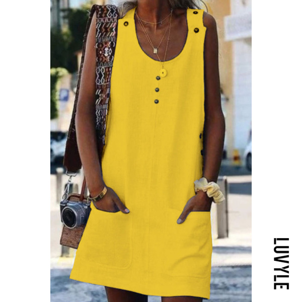 Yellow Round Neck Plain Sleeveless Casual Dresses Yellow Round Neck Plain Sleeveless Casual Dresses