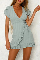 Deep V Neck  Belt  Plain  Short Sleeve Bodycon Dresses