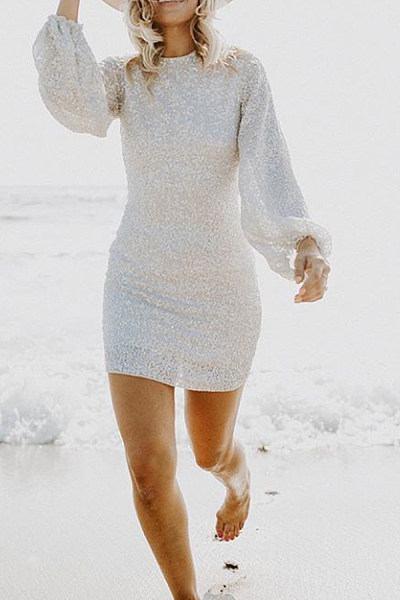 Casual Long Sleeve Glitter Bodycon Dress