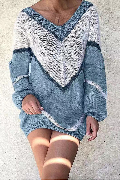 V Neck Loose-Fitting Colouring Sweater