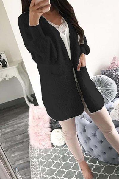Band Collar  Plain Basic Outerwear
