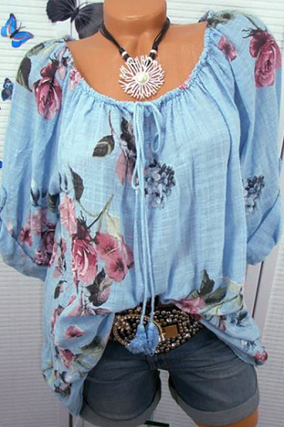 Casual Word Collar Lace Floral Print Cropped Sleeve Shirt
