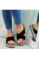 Women's thick bottom hemp rope solid color slippers
