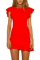 Round Neck  Flounce  Plain  Short Sleeve Casual Dresses