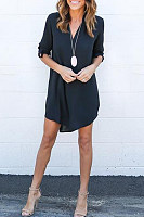 Chiffon V Neck Asymmetric Hem Plain Shift Casual Dresses