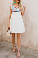 V Neck  Embroidery Printed  Sleeveless Casual Dresses