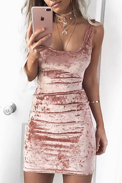 Square Neck  Plain  Sleeveless Bodycon Dresses