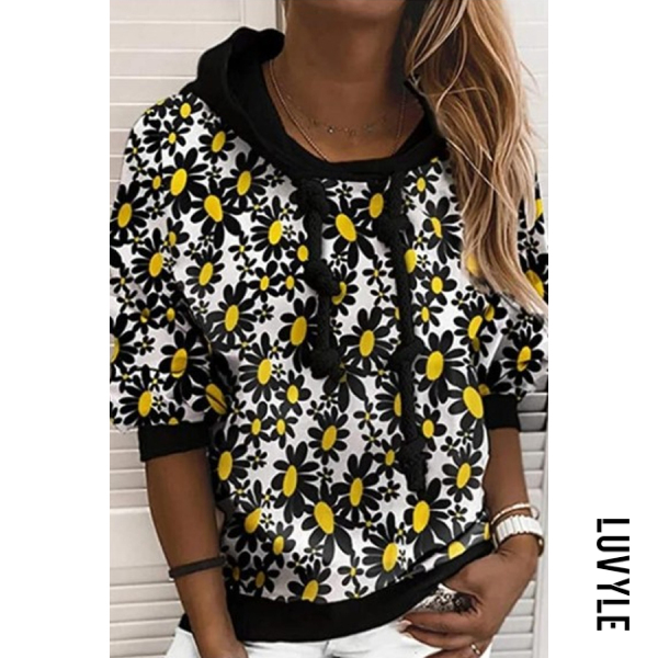 Multi Printed Long Sleeve Loose Casual Hoody Multi Printed Long Sleeve Loose Casual Hoody