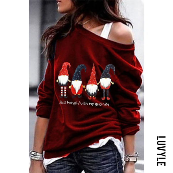 Women's Casual Santa Star Printed Collar Christmas Sweatshirt