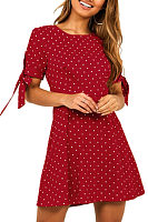 Round Neck  Dot  Short Sleeve Casual Dresses