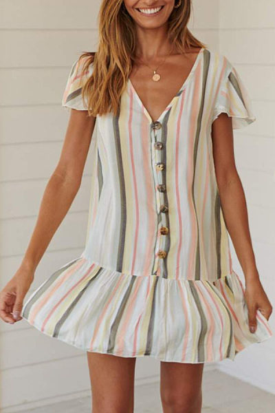 V Neck  Single Breasted  Striped  Short Sleeve Casual Dresses