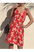 Spaghetti Strap Floral Printed Single Breasted Back Hole Skater Dress