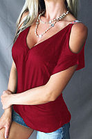 Open Shoulder V Neck  Plain T-Shirts