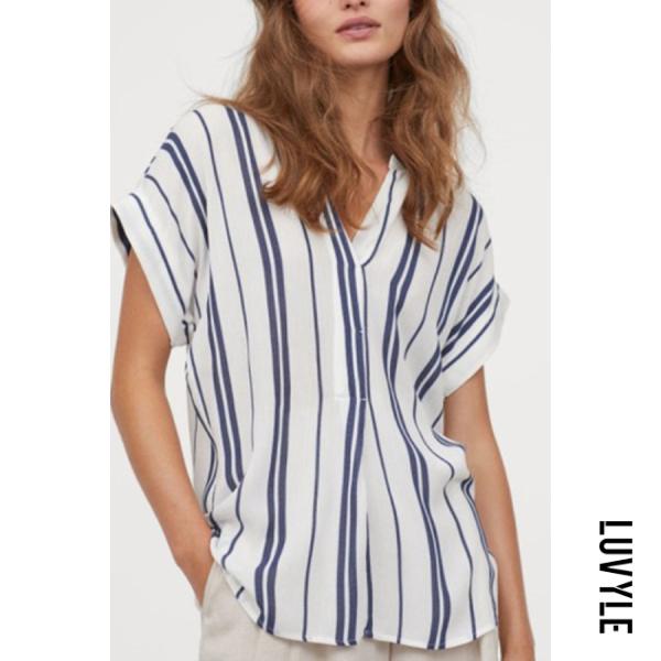 Commuter V-neck Stripe Short Sleeve Blouse