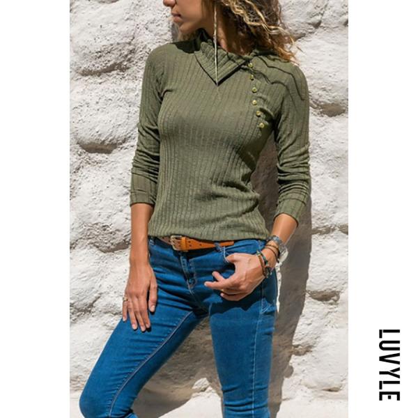 Green Asymmetrical Collar Button Long Sleeve Plain Knitting T-Shirts Green Asymmetrical Collar Button Long Sleeve Plain Knitting T-Shirts