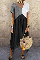 Casual Splicing V Neck Blend Short Sleeve Maxi Dresses