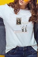 Round Neck Cartoon Casual T-Shirts
