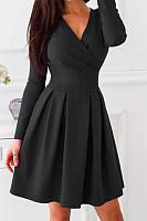 V-Neck  Plain Skater Dress
