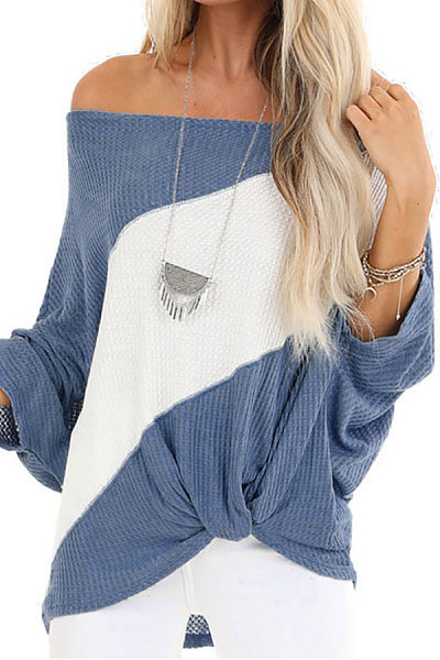 Shoulder Collar Long Sleeve Colouring T-Shirt
