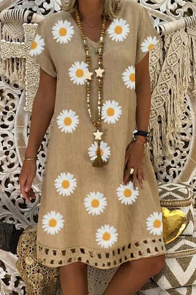 V Neck Short Sleeve Sunflower Casual Dress