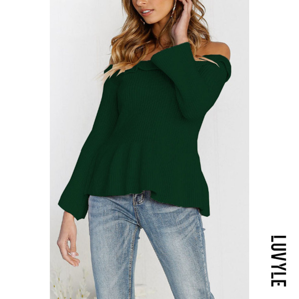 Green Off Shoulder Plain Bell Sleeve T-Shirts Green Off Shoulder Plain Bell Sleeve T-Shirts