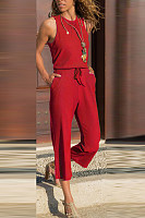 Fashion Solid Color Sleeveless Jumpsuit