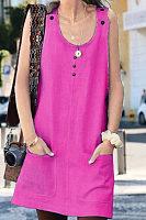 Round Neck  Plain  Sleeveless Casual Dresses