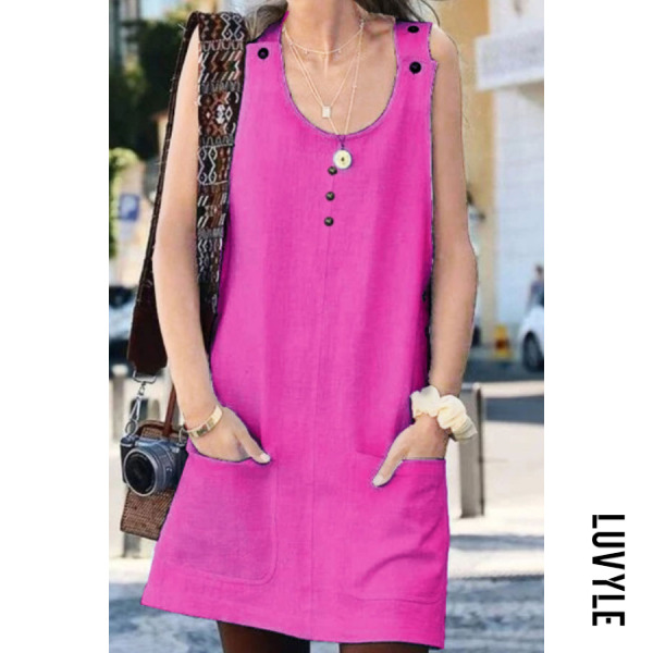Rose Round Neck Plain Sleeveless Casual Dresses Rose Round Neck Plain Sleeveless Casual Dresses