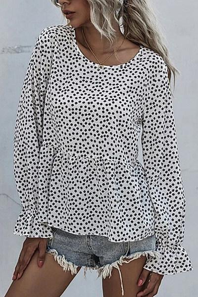Polka Dot Printed Long Sleeve Top