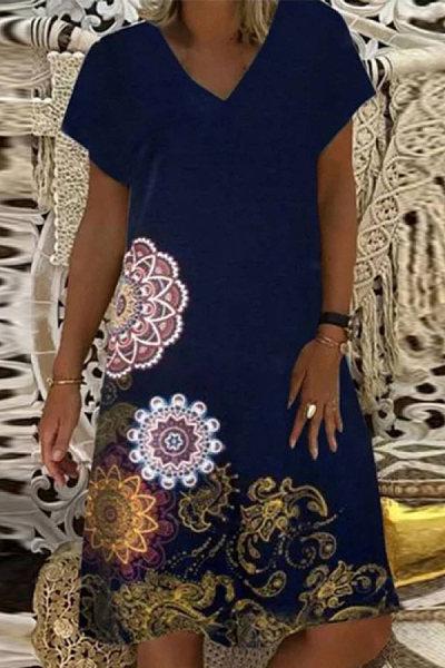 Women's V-neck Short Sleeve Printed Dress