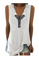 Fashion V Collar Sleeveless Button T Shirt