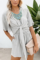V Neck  Plain  Short Sleeve  Casual  Playsuits