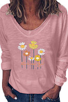 V Neck Print Long Sleeve T-shirt