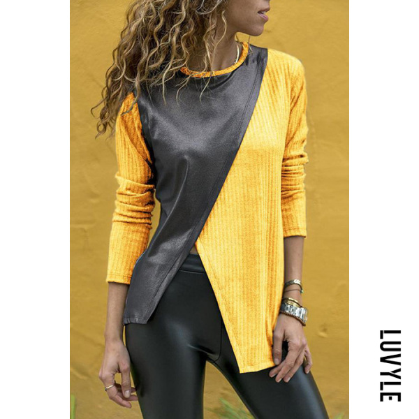 Yellow Fashion Contrast Stitching Round Neck Long Sleeve T-Shirts Yellow Fashion Contrast Stitching Round Neck Long Sleeve T-Shirts