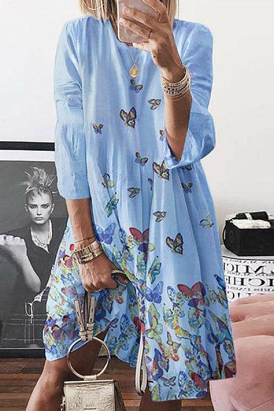 Leisure Butterfly Print Midi Dress
