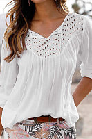 Casual v-neck hollowed-out solid color splicing top