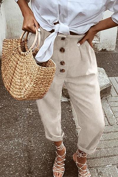 Decorative Buttons  Plain Pants
