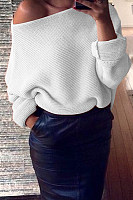 One Shoulder  Plain  Casual Sweaters