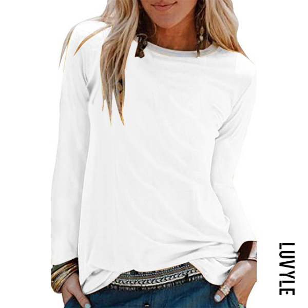 White Brief Pure Colour Long Sleeve Round Neck T-Shirt White Brief Pure Colour Long Sleeve Round Neck T-Shirt