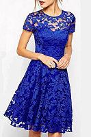 Round Neck  Patchwork  Plain  Short Sleeve Casual Dresses