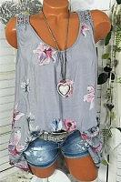 Fashion - Women's summer back lace round neck print vest