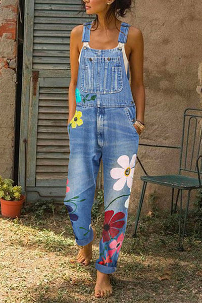 Women Casual Floral Denim Bib Pants