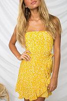 Spaghetti Strap  Asymmetric Hem  Belt  Printed  Sleeveless Casual Dresses