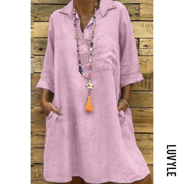 A Lapel Long Sleeve Pocket Plain Casual Dress